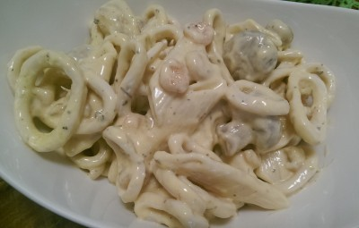 Quick pasta-calamari appetizer